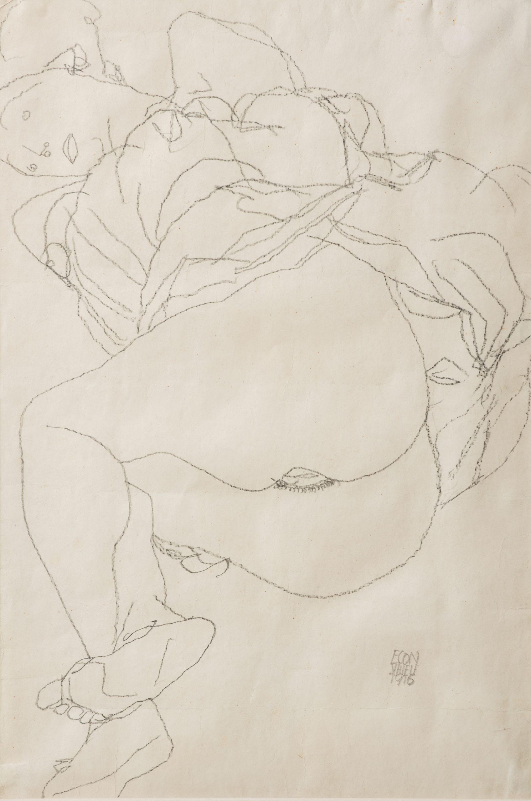 Liegendes Mädchen mit hochgezogenem Rock, 47,5x32,4, Schiele Egon