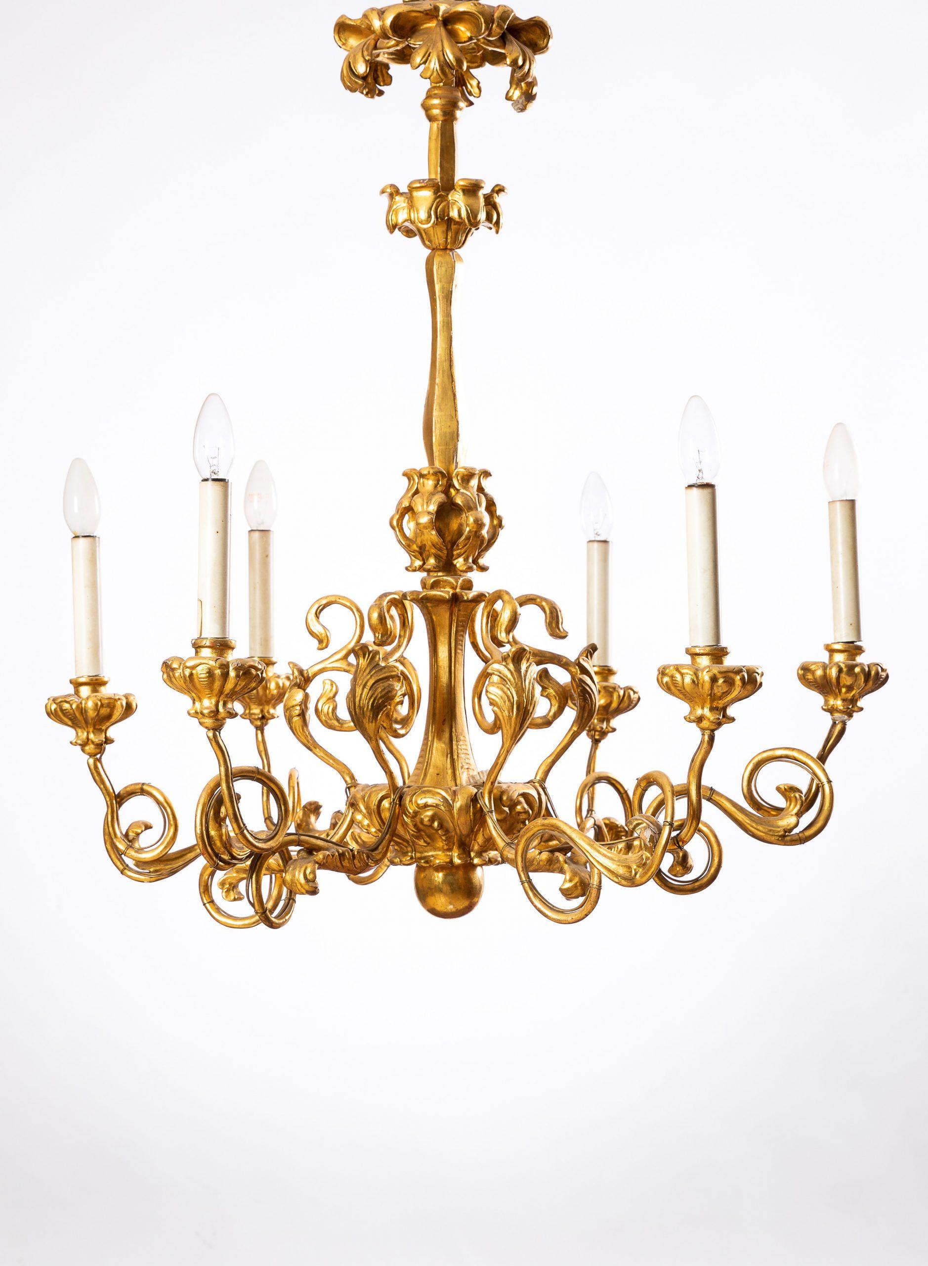 25 vergoldeter Holzluster, Biedermeier 1830-1835,